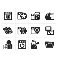 Silhouette Internet website and Security Icons vector