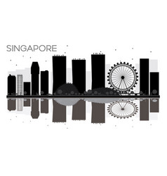 Singapore city skyline black and white silhouette vector
