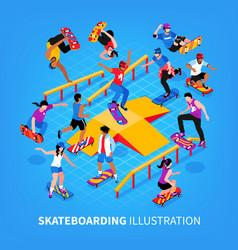 skateboarding isometric background composition vector image