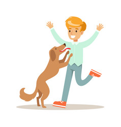 smiling boy playing with his dog colorful cartoon vector image