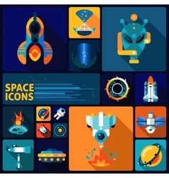 Space icons flat set vector
