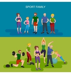 Sports and Fitness People Healthy family vector image