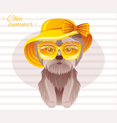 Summer fashion terrier puppy dog in sweet retro vector