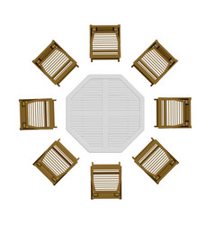 summer table with chairs view from above 3d vector image