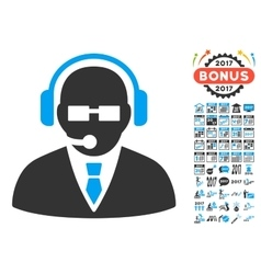 Support Manager Icon With 2017 Year Bonus Symbols vector image