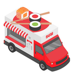 Sushi truck icon isometric style vector