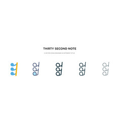 Thirty second note rest icon in different style vector