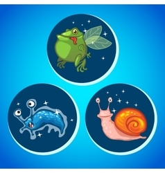 Three fantastic animals icons vector image