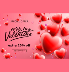 Valentines day sale poster with red hearts vector