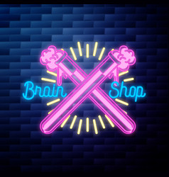 vintage scientific shops emblem glowing neon sign vector image