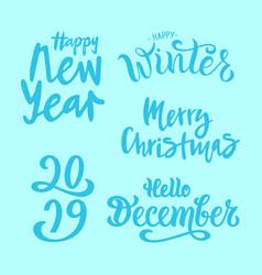 winter set on blue background vector image