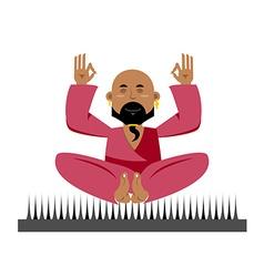 Yogi on nails Indian yogi sits on spike nirvana vector