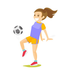 young caucasian white woman playing football vector image