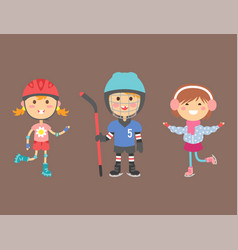 Young kids sportsmens future roller skates vector