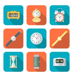 colored flat style various watches clocks icons vector image vector image