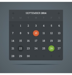 September 2014 calendar in flat dark style vector image