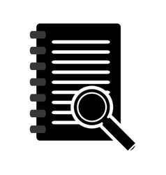 wired notebook and magnifying glass icon vector image