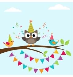 Birthday card with birds vector image