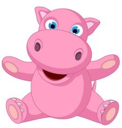 cute baby hippo cartoon sitting vector image