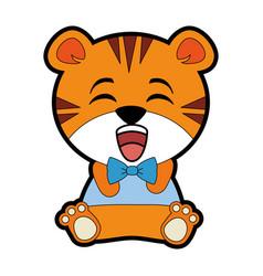 cute tiger kawaii character vector image