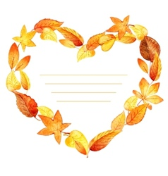 Heart from leaves autumn watercolor vector image vector image