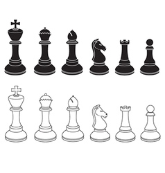 Set of Chess Icons in Black and White vector image vector image