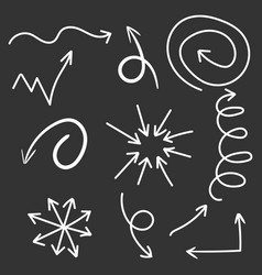 arrows icon set hand drawn on black background vector image