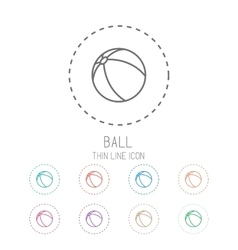 Ball Clean thin line style sport icon set vector image