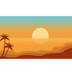 Beach at sunrise scenery silhouettes vector image