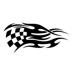 Black and white motor sports flag tattoo vector image vector image