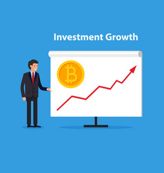 business man present uptrend line arrow vector image