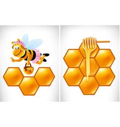 Cartoon bee with delicious honey vector