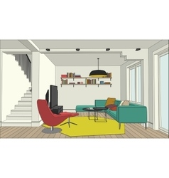 Color drawing of the interior vector image