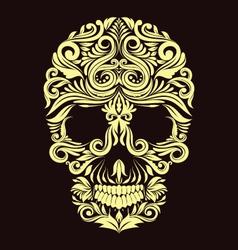 Dark brown ornament skull vector