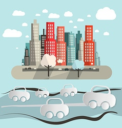 Paper Cars in City - Town Abstract Flat Design vector image vector image