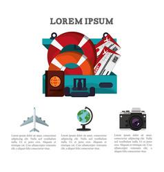 Travel brochure promotion vacation information vector