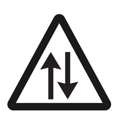 Two way traffic sign line icon vector