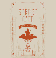 banner for street cafe with table and hot tea vector image vector image