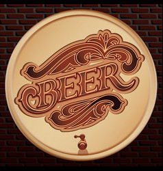 beer wooden barrel on a brick wall vector image vector image
