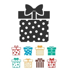 Gift boxes icons set isolated over white vector image vector image