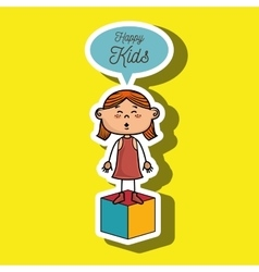 girl kids happy cube icon vector image