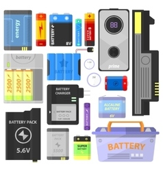 Set of alkaline battery and accumulator vector image vector image