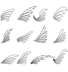 Set of Wings Icons vector image
