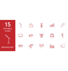 15 broadcast icons vector