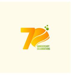 70 years anniversary celebration orange template vector