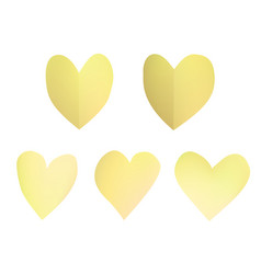 a set of yellow paper hearts vector image
