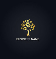 Abstract tree curl gold logo vector