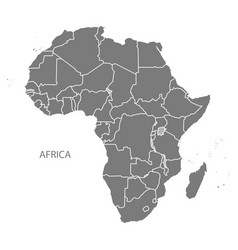 Africa map with countries grey vector