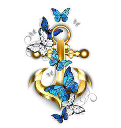 Anchor with butterflies morpho vector