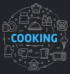 Black line flat circle cooking vector